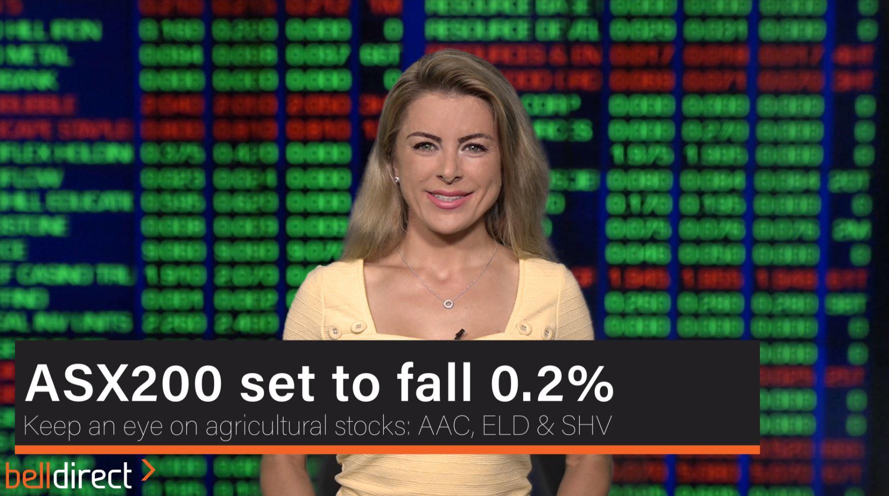 ASX200 set to fall 0.2%